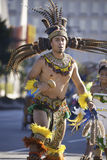 Aztec dancer. Dressed in traditional costume participates in the Grand Marian Procession through downtown Los Angeles Royalty Free Stock Image