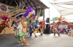 Aztec Dancers. Dancers from the Ballet Folklorico Nacional de Milwaukee enact an Aztec performance at the 2014 Wisconsin State Fair Stock Images