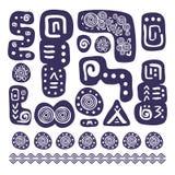 Aztec design elements. Abstract Aztec ornamental design element set. Vector illustration Stock Images