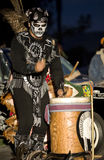 Aztec Drummer 4. Hollywood, CA October 27th, 2007:  Day of the Dead Festival (Dia de los Muertos) at the Hollywood Forever Cemetary.  Xipepotec performing Royalty Free Stock Photos