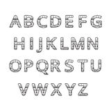 Aztec ethnic ornamental font.english black and white color  alphabet Stock Photography