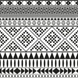 Aztec ethnic seamless pattern, tribal black and white color background Royalty Free Stock Images