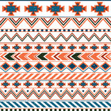 Aztec ethnic seamless pattern, tribal pink and orange background. Stock Photo