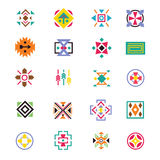 Aztec ethnicity style signs. American indian navajo art vector patterns Stock Image