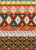 Aztec färgrika geometriska seamless mönstrar Arkivbild