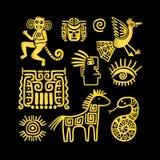 Aztec forntida djura guld- symboler vektor illustrationer
