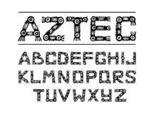 Aztec forntida etniskt alfabet Arkivbild