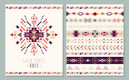 Aztec geometric card Royalty Free Stock Image