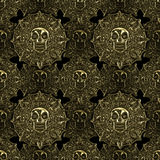 Aztec golden coins seamless pattern Royalty Free Stock Photography