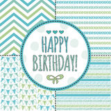 Aztec happy birthday card pattern vector illustration Stock Photos