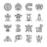 Aztec icon set. Included the icons as maya, mayan, tribe, antique, pyramid , warrior and more. stock illustration