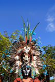 Aztec indian native feather clothes ceremonial. Only editorial use Stock Images