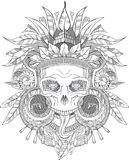 Aztec indian Skull. Black on white Aztec indian Skull, vector illustration Royalty Free Stock Images