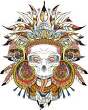 Aztec indian Skull Stock Images