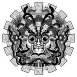 Aztec Sun Warrior Black and White Mask Vector illustration. Aztec King Sun Warrior Mask originally made on Vector Graphic Art Technique, inspired by Ancient royalty free illustration