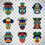 Aztec maskeringsuppsättning på genomskinlig bakgrund stock illustrationer