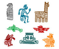Aztec and maya ancient drawing art Royalty Free Stock Photo