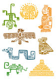 Aztec and maya ornamental symbols. Ancient aztec and maya ornamental symbols of sun, god idol, pyramid, eagle, raven, monkey, sneak, lizard. For totem animal Royalty Free Stock Image