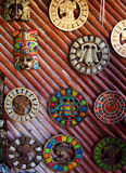 Aztec mayan calendar wooden handcrafts Mexico Stock Images