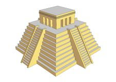 Aztec or mayan steps pyramid with temple on top Stock Photos