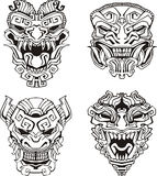 Aztec monster totem masks Stock Image