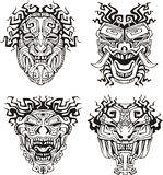 Aztec monster totem masks Stock Photos