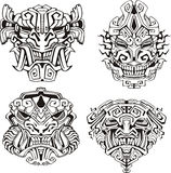 Aztec monster totem masks Royalty Free Stock Photos