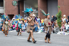 Aztec musicians in the Grand Floral Parade Royalty Free Stock Image