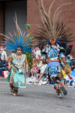 Aztec musicians in the Grand Floral Parade Stock Photo