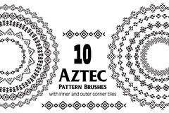 Aztec pattern brushes Royalty Free Stock Photography