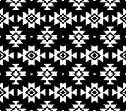 Aztec  pattern, Tribal background, Navajo design in white on black background Stock Image