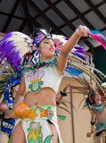 Aztec Performer. A dancer from the Ballet Folklorico Nacional de Milwaukee performs in an Aztec costume during the 2014 Wisconsin State Fair Royalty Free Stock Images