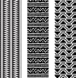 3 Aztec Primitive Pattern Bookmarks Black White Marker Art Royalty Free Stock Photo