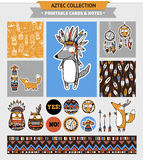 Aztec printable set. Aztec illustration. Vector printable cards, stickers and banners with native american funny wolf and other animals Stock Photography