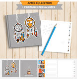 Aztec printable set. Aztec illustration. Vector printable notepad design of cover and papers with native american funny fox and dream catcher Stock Photo