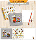 Aztec printable set. Aztec illustration. Vector printable notepad design of cover and papers with native american funny owls and other animals Royalty Free Stock Image