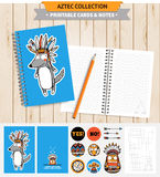 Aztec printable set. Aztec illustration. Vector printable notepad design of cover, papers, stickers and banners with native american funny wolf and other Stock Image