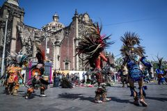 Aztec ritual dance show, Mexico City, Mexico royalty free stock photography
