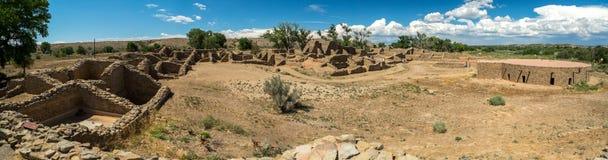 Aztec ruïneert Nationaal Monument in New Mexico stock foto