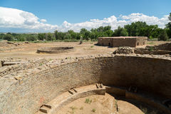 Aztec ruïneert Nationaal Monument in New Mexico royalty-vrije stock afbeelding