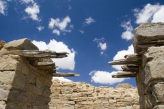 Aztec Ruins 2. Walls and a partial roof at the Aztec ruins in Aztec, New Mexico Royalty Free Stock Photography