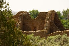 The Aztec Ruins in NM. A picture of part of the large rooms at the Aztec National Monument in Farmington NM Stock Photos