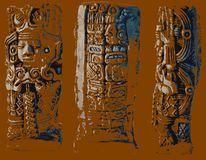 Aztec sculpture. Different positions statuettes. From the front, from behind, from the side. Brown background. Statuette of god in South America stock images