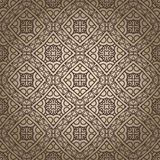 Aztec seamless background. Seamless wallpaper with aztec ornament in brown and gold colors Royalty Free Stock Images