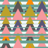 Aztec seamless pattern with triangles. Ethnic abstract geometric texture. Used for wallpaper, web page background, fabric, paper,. Postcards Stock Illustration