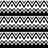 Aztec seamless pattern, tribal black and white background Stock Photos