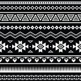 Aztec seamless pattern, tribal black and white background stock illustration