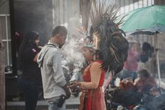 Aztec Shaman, Mexico City. Mexico City, Mexico - December 22, 2017: traditional Aztec shaman in the capital city of Mexico, DF, Mexico Royalty Free Stock Photography