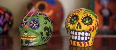 Aztec skulls Mexican Day of the Dead colorful Stock Photo