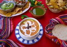 Aztec soup from Mexico recipe. With mexican sauces Royalty Free Stock Photos